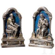 Ein Paar Heiligenfiguren der Apostel Jakobus und Matthäus, Silber und Lapislazuli, Italien, 17.