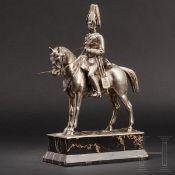 Silberstatuette eines hohen Kavallerieoffiziers, deutsch, 19. Jhdt.Silber, an der Plinthe der
