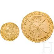 Zwei Goldmünzen, deutsch, 17. Jhdt.Sophien-Dukat, Kurfürstentum Sachsen, Johann Georg I. (1615 -