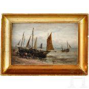 """""""Fischerboote am Meer"""" - Paul Jean Clays (1819 - 1900) zugeschrieben"""