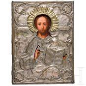 Ikone des Christus Pantokrator mit Silber-Oklad