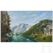 """Gemälde Schweizer Bergsee, signiert """"Angerosa 1909"""""""