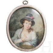 Miniatur einer jungen Dame, mit Silberrahmen, England, um 1800