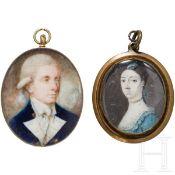 Zwei Medaillons mit Portraitminiaturen, europäisch, Ende 18. Jhdt.