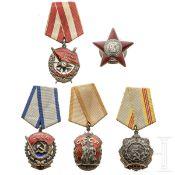 Fünf sowjetische Orden, 20. Jhdt.
