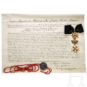 Italien - Malteserorden und Urkunde, datiert 1982
