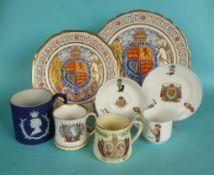 1937 Coronation: two Paragon plates, a Wedgwood blue jasperware mug, two others