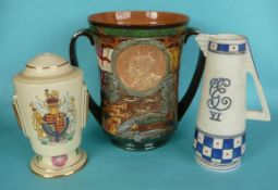 1937 Coronation: a large Royal Doulton loving cup, 265mm, a Copeland lamp base and a Crown Ducal jug