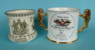 A Doulton Burslem small jardinière for 1901 Australia Federation and a Paragon loving cup for 1976
