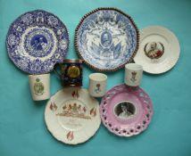 Edward VII: five plates including an unusual Princess May print, two lithophane mugs, Alexandra