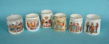 1900 Transvaal: six various mugs, (6)