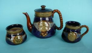1905 Nelson Centenary: a Doulton blue glazed stoneware teapot and cover