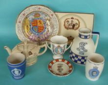 Edward VIII and George VI: a Crown Ducal beaker, a Paragon plate and two beakers for Edward