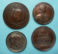 Russia: a large copper medallion struck for 1711-1911 bi-centenary, & three other Russian medallions
