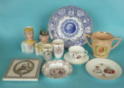 George V and VI: a Doulton trio and a teapot stand for 1902; a Goss beaker & an Exemplar loving cup