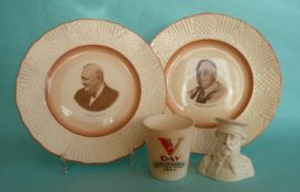A pair of Solian Ware plates for Churchill and Roosevelt, a glazed parian bust of General Booth