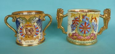 1937 Coronation: a Paragon loving cup, 115mm and a Shelley loving cup (2)