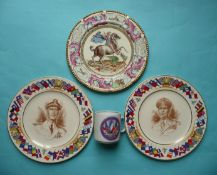 World War II: a Paragon plate the reverse inscribed for democracy, two American pottery plates