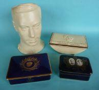 1937 Coronation: a cream glazed maskhead jug, 210mm and three cigarette boxes each with a cover