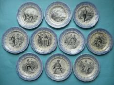 1900 Transvaal: ten French pottery plates by H B & Cie, 196mm (10)