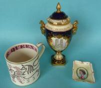 Elizabeth II: a Guyatt mug and a Royal Crown Derby dish for 1953 and a Coalport vase for 1977 (4)