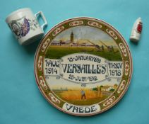 World War I: a Dutch delft plate for 1919 Versailles peace, a mug and a crested shell (3)