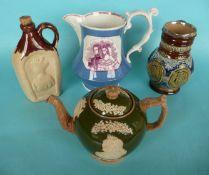 Victoria: a jug and a spirit flask for 1840 wedding; a Copeland teapot and a Doulton Lambeth jug
