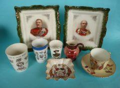 1900 Transvaal: a small Carltonware jug, 90mm, three beakers, a cup and saucer