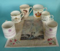 Two mugs for 1953, a mug for 1982 birth, another 1983 first birthday and two for Margaret