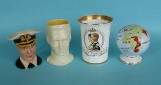 1937 Coronation: a Minton beaker, a Melba globe and two small character jugs (4)