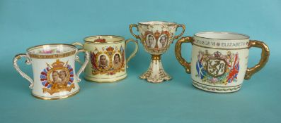1937 Coronation: an Aynsley loving cup, 120mm and others by Shelley, Foley and Collingwood (4)