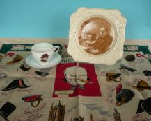 Winston Churchill: a Crown Ducal plate, a Wellington China cup and saucer for 1940s
