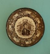 Jan Carolus van Speijk: a pearlware saucer by Southwick Pottery printed in brown, circa 1835, 121mm.