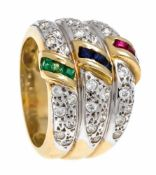 Sapphire-emerald-ruby ring GG / WG 585/000, each with 3 fac. Sapphire, emerald, rubycarrées 2 mm and