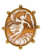 Gem brooch gold-plated around 1880, with a finely carved shell gem 42 x 34 mm, L. 51 mm,10.8