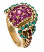 Ruby-turquoise ring GG 750/000 with round faceted rubies 3 - 1.8 mm and round turquoisecabochons 2 -