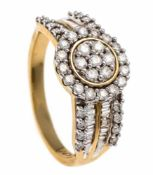 Brilliant ring GG / WG 585/000 with 71 diamonds, total 1.00 ct W / PI1, RG 60, 4.8 gBrillant-Ring