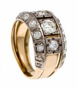 Old cut diamond ring WG / GG 585/000 with old cut diamonds, total 0.75 ct slightly tintedWhite -