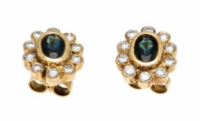 Sapphire-brilliant stud earrings GG 585/000 with 2 oval fac. Sapphires 5 x 3.5 mm and 20brilliant-