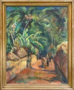 """Heinrich Heuser (1887-1967), dt. Maler aus Stralsund, studierte bei Angelo Jank in München und war Meisterschüler von Fritz Mackensen in Weimar. 1912 schloss er sich der Berliner Sezession an. In den 1920er Jahren reiste er nach Südamerika und in die Südsee. 1937 wurde seine Arbeit als """"entartet"""" eingestuft. Großes, expressives Südseemotiv mit zwei Figuren und Ochse auf einem eingehegten Weg vor einem dichten Palmenwald, Öl auf Lwd., u. re. sign. u. dat. 1927, 100 x 80 cm, ger. 1..."""