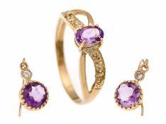 Schmuck-Set GG 10 KT (GG 417/000) Ring mit einem oval fac. lila Stein 5 x 3 mm, RG 55,Ohreinhänger