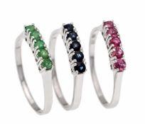 Smaragd-, Rubin-, Saphir-Ringe WG 585/000 mit rund fac. Smaragden, Rubinen, Saphiren 2 mm,RG 60, 6,6