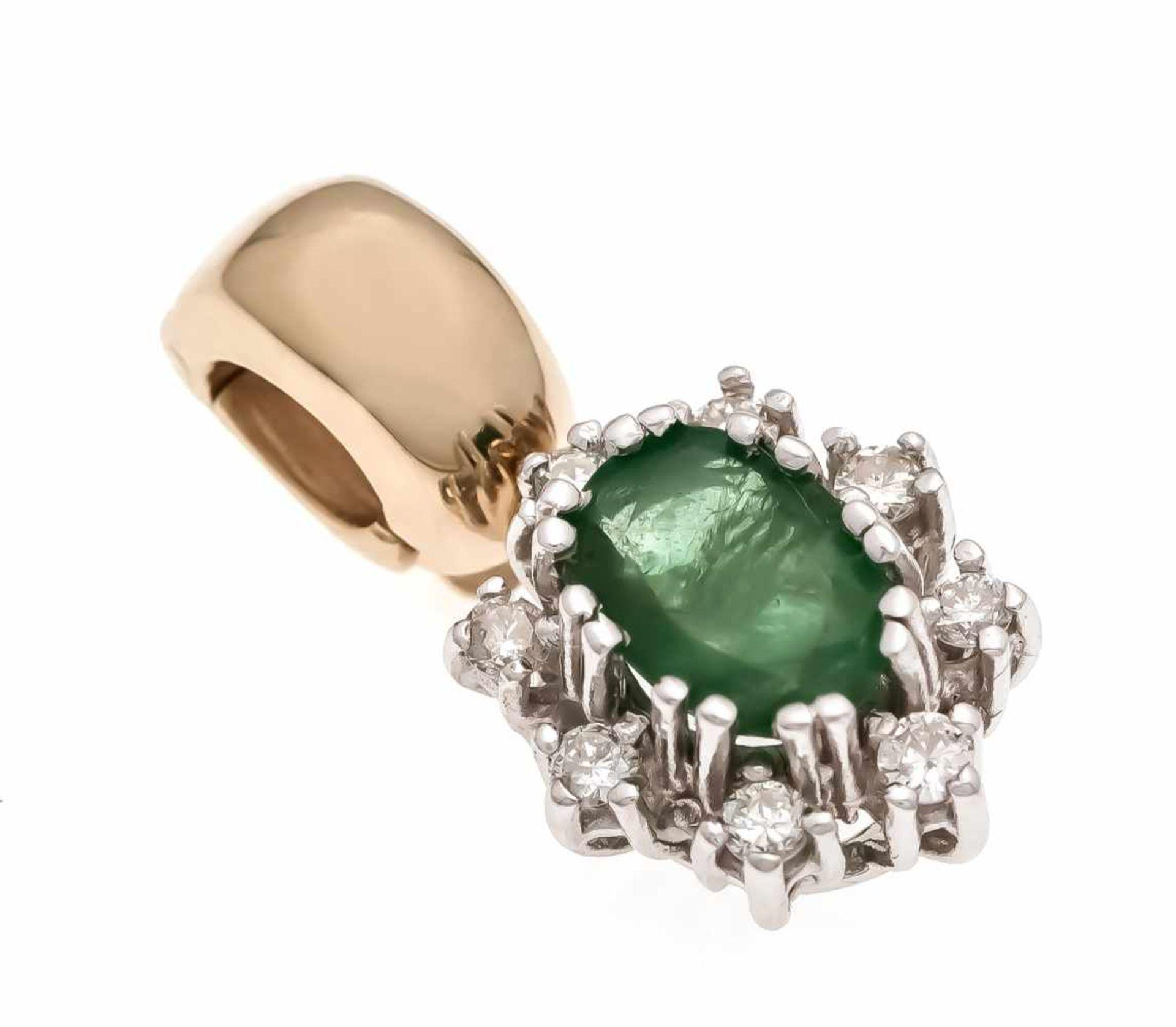 Smaragd-Brillant-Clipanhänger GG/WG 585/000 mit einem oval fac. Smaragd 6 x 4 mm und 8Brillanten,