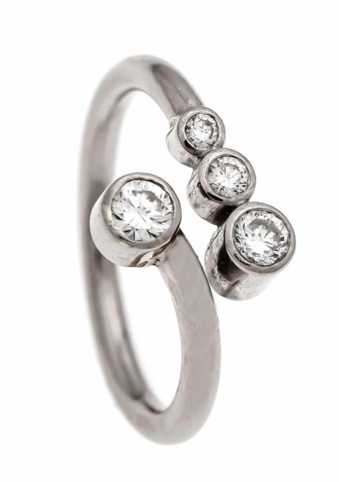 Brillant-Ring WG 750/000 mit 4 Brillanten, zus. 0,40 ct W/VS-SI, RG 60 (offen), 6,6 gBrilliant