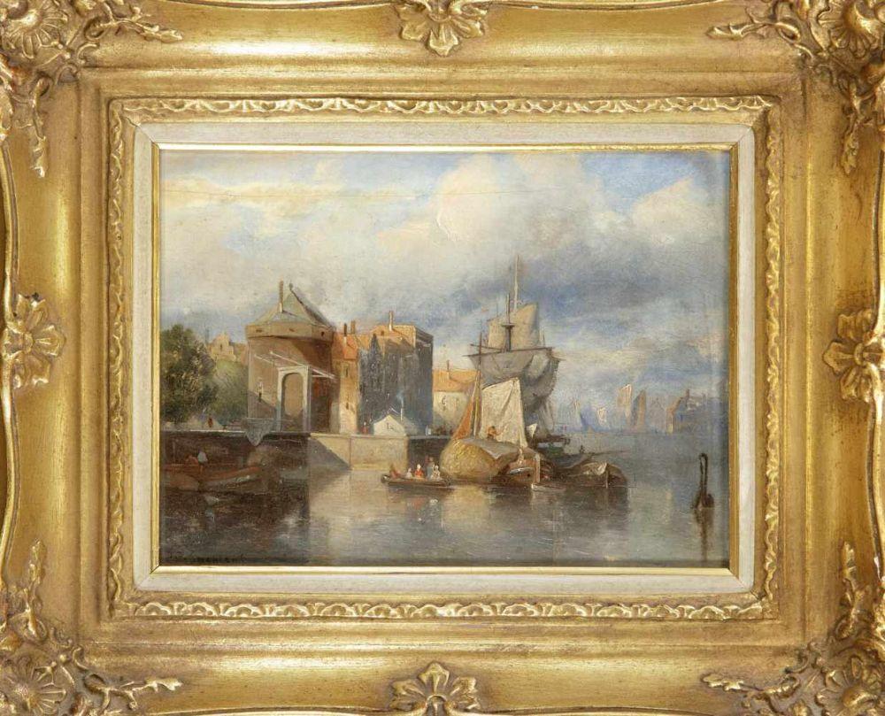 Jacob Jan Coenraad Spohler (1837-1922), niederländischer Vedutenmaler der AmsterdamerSchule. Stadtansicht mit Schiffen vor einer kleinen Hebebrücke, Öl auf Eichenholztafel, Spannungsriss mit Retusc