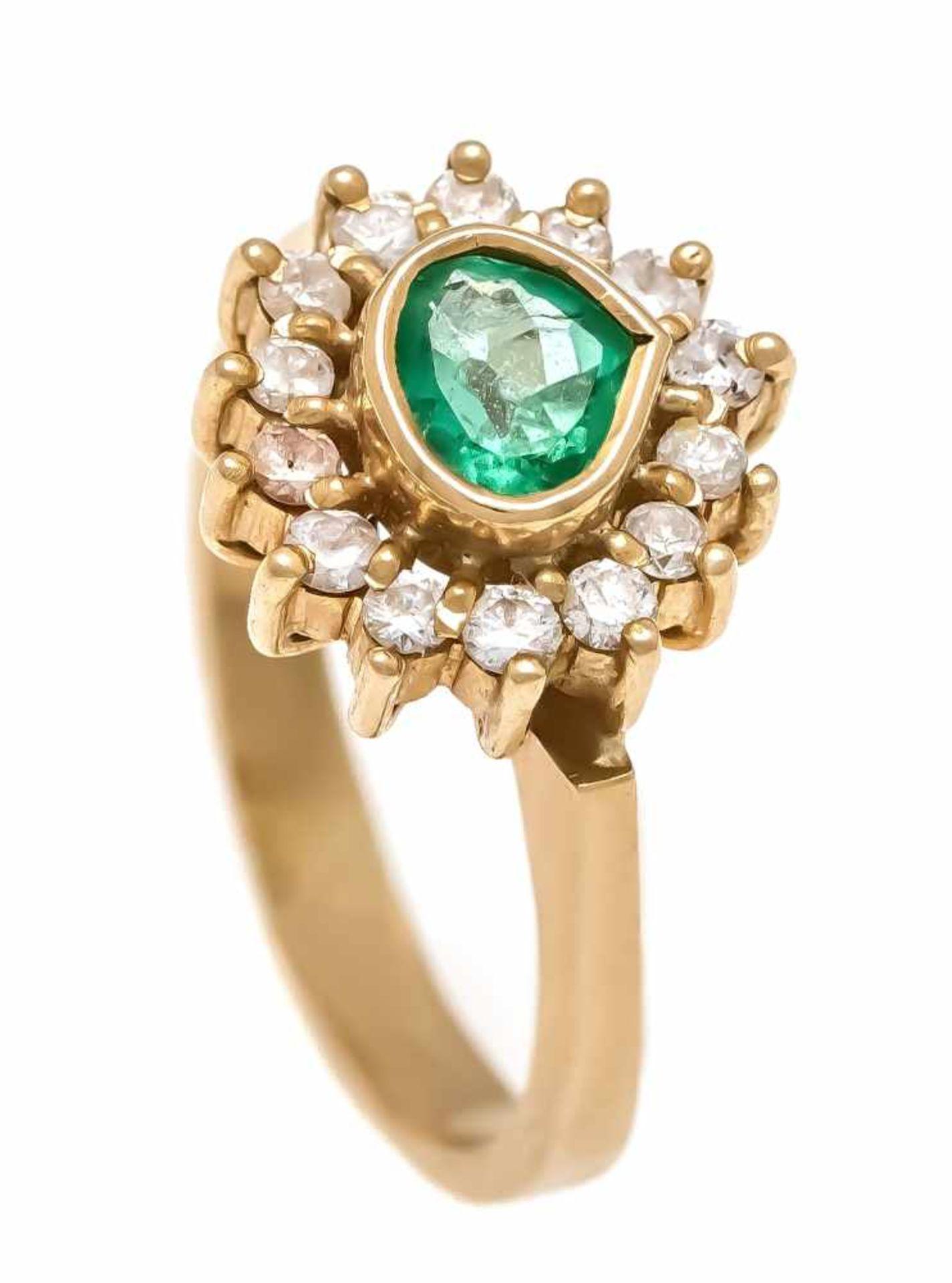 Ring GG 750/000 mit fac. weißen und grünem Schmuckstein, RG 47, 3,9 gRing GG 750/000 with fac. White