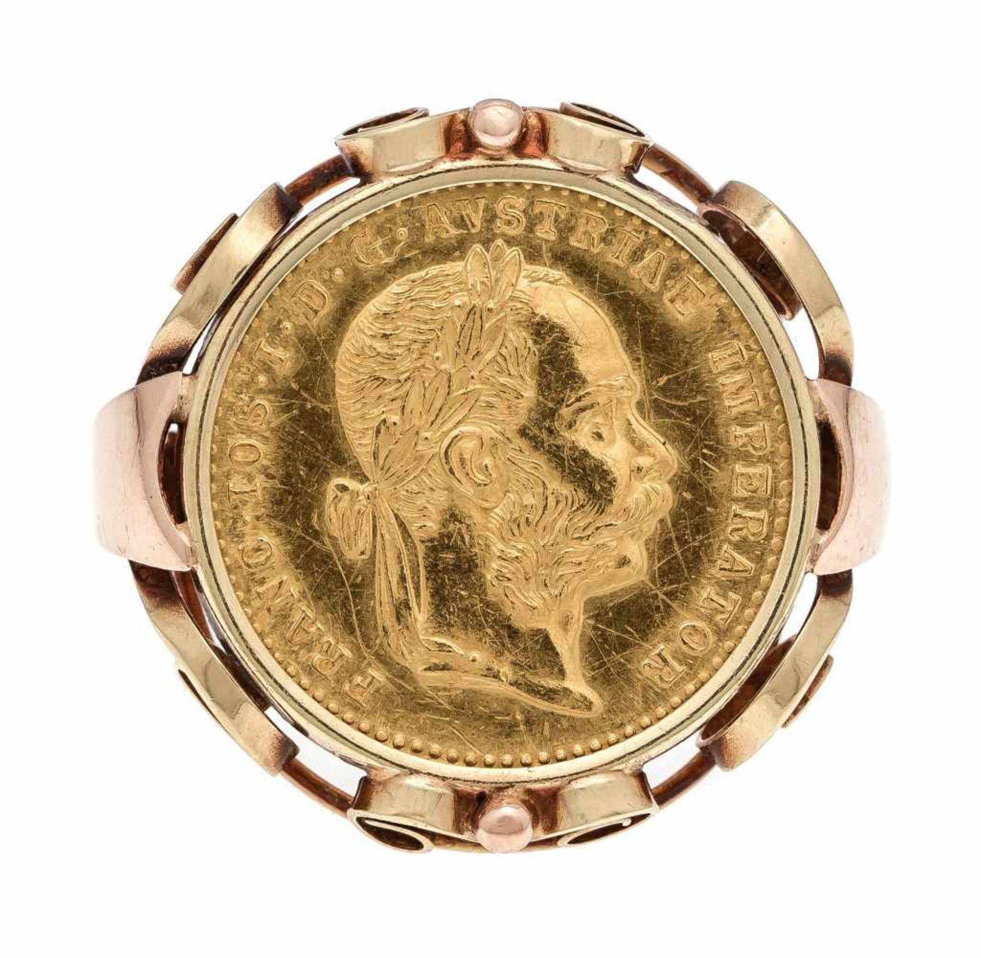 Münz-Ring GG 750/000 mit einer Goldmünze 986/000 1 Dukat 1915, RG 53, 6,7 gCoin ring GG 750/000 with - Bild 2 aus 3