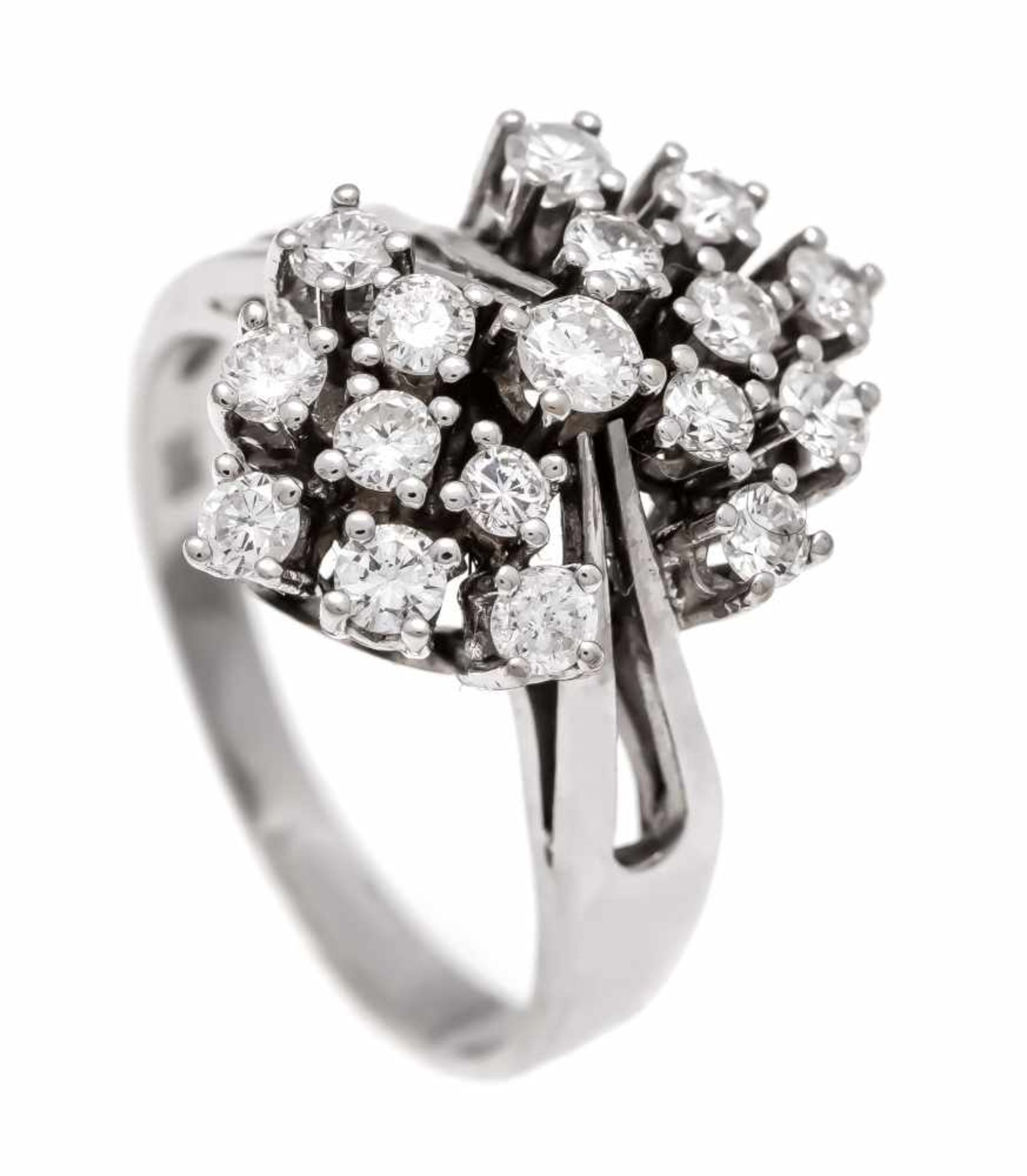 Brillant-Ring WG 585/000 mit 18 Brillanten, zus. 1,0 ct TW-W/VS-SI, RG 54, 4,8 gBrilliant ring WG