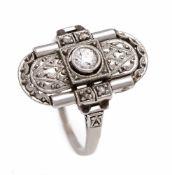 Altschliff-Diamant-Ring Platin 800/000 mit einem Altschliff-Diamanten 0,12 ct W/SI und