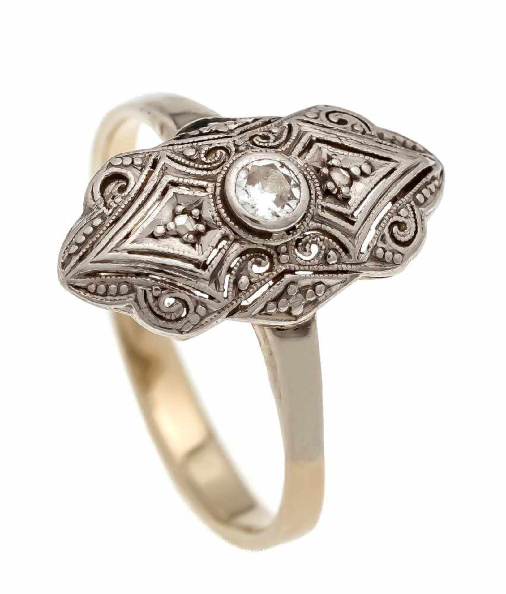 Altschliff-Diamant-Ring GG/WG 585/000 mit einem Altschliff-Diamanten 0,08 ct l.get.W/SIund